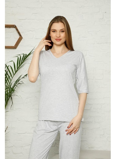 Akbeniz Kadın %100 Pamuk Penye Kısa Kol Pijama Takım 3348 Gri